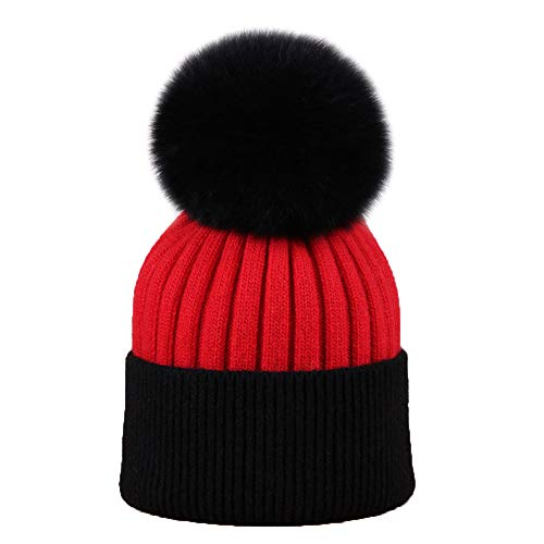 (KIAYI Ladies Knit Caps, Winter Warm Hat Wool Blend Thickening Outdoor Hairball Beanie Hats (54-60cm),Red)