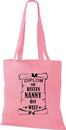 Tela Rosa Mejor Shirtstown Para Nanny De Bolsa Mundo Diplom Del EUxwxanqzP