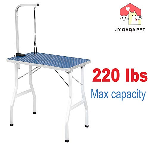 "JY QAQA PET 32"" Professional Foldable Pet Dog Grooming Table with Adjustable Arm,Maximum Capacity Up to 220lbs"