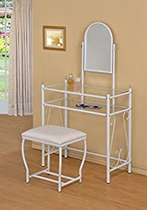 3 Piece Metal Make Up Scroll Mirror Vanity Dresser Table And Stoo