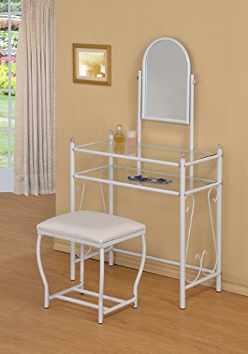 3-Piece Metal Make-Up Scroll Mirror Vanity Dresser Table and Stool Set, White