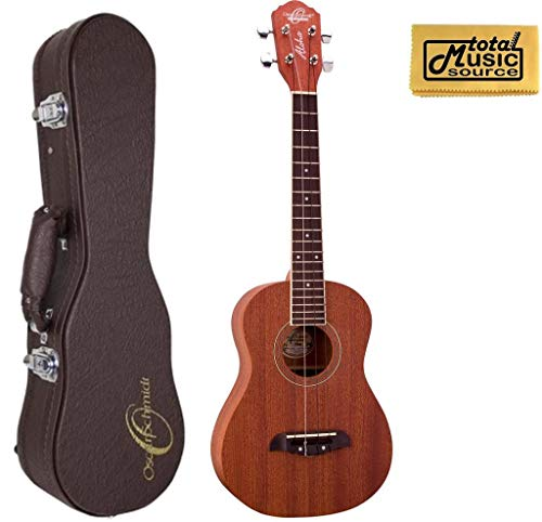 Oscar Schmidt Tenor Ukulele w/ Hardshell Case, All Mahogany, Satin Finish, OU2T