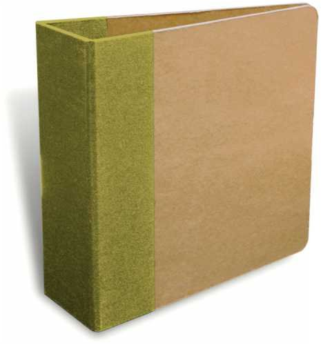 (7 Gypsies Naked D-Ring Binder 6 Inch by 6 Inch, Kraft with Green Trim)