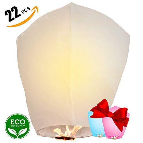Chinese Lanterns 22-Pack – 100% Biodegradable, Paper Sky Lantern – Japanese Lantern for Weddings, Celebrations, Memorial Ceremonies – White Flying Wish Lanterns, 2 Bonus Colourful Lanterns blue & pink -
