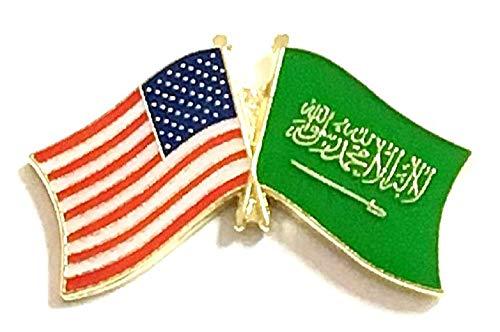 Pack of 3 Saudi Arabia & US Crossed Double Flag Lapel Pins, Saudi Arabian & American Friendship Pin Badge