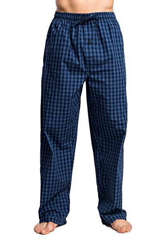 Mens 100% Cotton Pants (CYZ Men's 100% Cotton Poplin Pajama Lounge Sleep Pant-P17001-L)