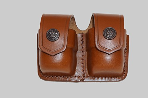 (ALIS038 Double Speedloader carrier/case/pouch for S&W 357 Magnum Genuine Leather Handmade!)