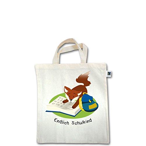 Einschulung - Endlich Schulkind! Lesender Fuchs - Unisize - Natural - XT500 - Fairtrade Henkeltasche / Jutebeutel mit kurzen Henkeln aus Bio-Baumwolle