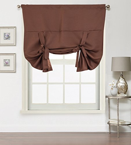 Window Rose Adjustable Tie-up Shade Blackout Small Window Curtain for bedroom / living room - Highly Shading Panel, Thermal Insulated Solid Rod Pocket, 1 Piece, 42 by 63 inch, color Chocolate