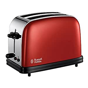 Russell Hobbs 18951-56 Colours Flame Red - Tostadora de acero inoxidable, 1100 W, soporte calienta panecillos, función cancelar y descongelar, color rojo
