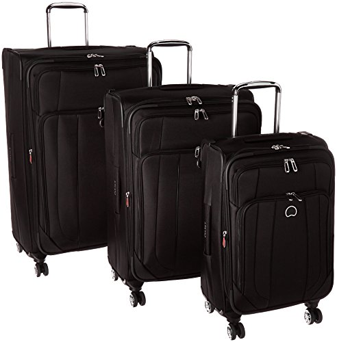 Delsey Luggage Helium Cruise 3 Piece Exp 4 Wheel Spin Lug, Black by DELSEY Paris