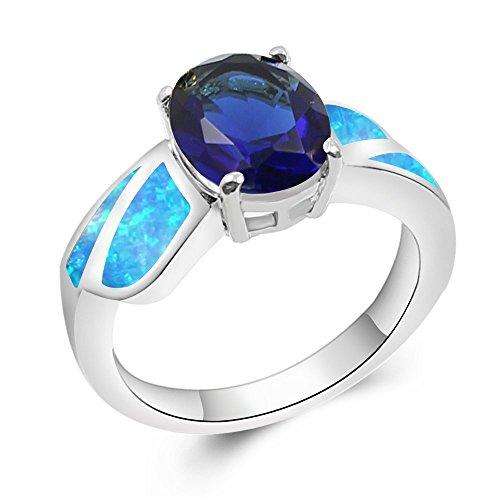 Sinlifu Sapphire Tanzanite Simulated Blue Fire Opal Silver Ring Rhodium Plated For Women - Ring Tanzanite Opal Fire
