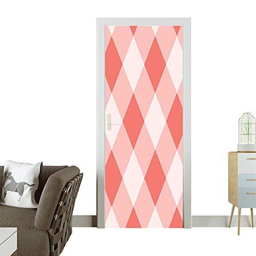 Homesonne Modern Art Door Sticker Peach Echo Geometrical Mosaic Diag al an B Figure Image Grey Environmentally Friendly decorationW23.6 x H78.7 INCH