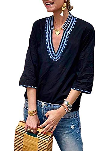 FARYSAYS Women's Boho Embroidered V Neck 3/4 Sleeve Casual T-Shirt Tops Loose Blouse Blue XX-Large