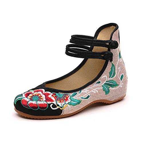 Womens Folk Style Canvas Peony Embroidered Cloth Mary Jane Shoes Breathable Casual Walking Ethnic Dancing Shoes Black,9 B(M) US