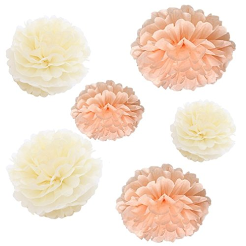 Set of 6 Mixed Peach Cream Ivory Beige Wedding Flower DIY Tissue Paper Pom Poms Anniversary Birthday Party Girl Room Hanging Decoration