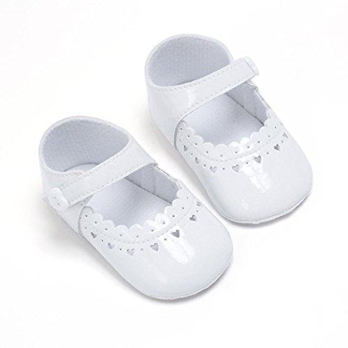 Igemy 1Paar Mädchen Baby Herz Typ Soft Soled Anti-Rutsch Schuhe Krippe Schuhe Weiß