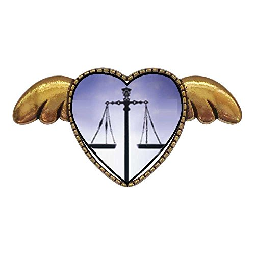 GiftJewelryShop Ancient Style Gold-Plated Scales of Law and Justice Heart with Simple Angel Wings Pins Brooch (Gold Justice Plated)