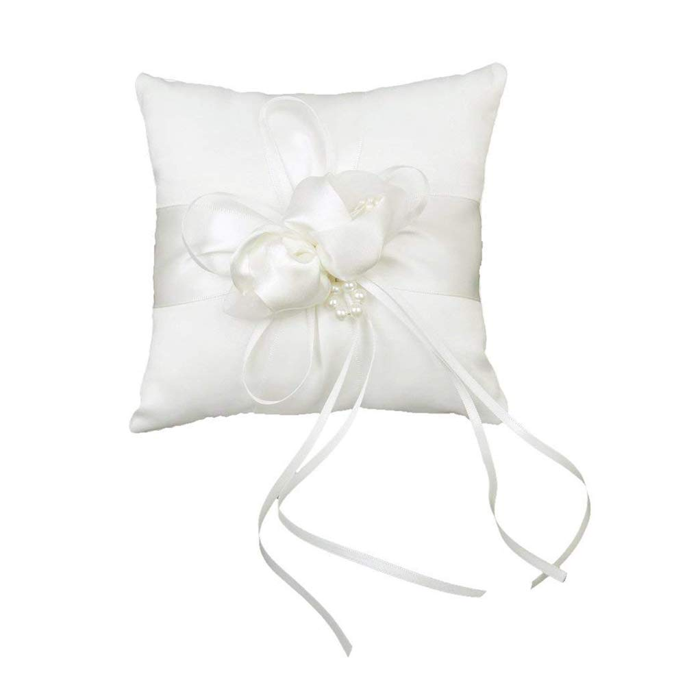 Ogquaton Almohada de Anillo Cojín Almohada con Cinta Cruzada Flor Suministros de Boda para Anillos de Boda 20 cm Blanco 1 pcs