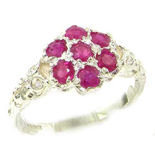 925 Sterling Silver Real Genuine Ruby Womens Cluster Ring - Size 11 (Ruby Cluster Ring)