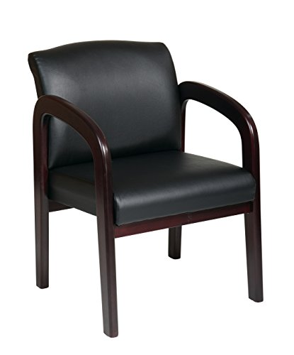 Office Star Visitors Chair with Mahogany Finish  Base and Arms, Black Faux Leather - Office Star Work Smart Wood