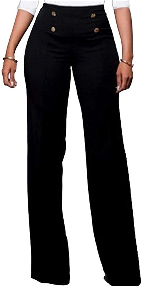 Lucuna Women's Casual Stretch Straight Leg High Waisted Long Work Pants with Belt