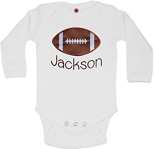 - Funny Girl Designs Football Onesie Bodysuit Personalized With Your Custom Name - Brown (3-6 Months, Long Sleeve)