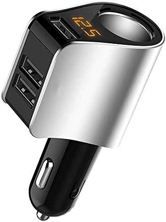 車の充電器USBカーアダプター充電器、超小型12-24Vデュアルポート車のシガーライター携帯充電器、急速充電 (Color : Silver)