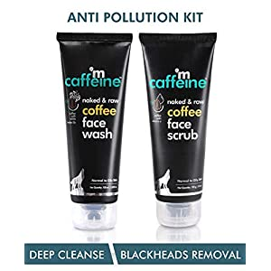 mCaffeine Coffee Anti Pollution Kit | Deep Cleanse, Blackheads Removal | Face Wash (100ml), Face Scrub(100gm) | Oily…