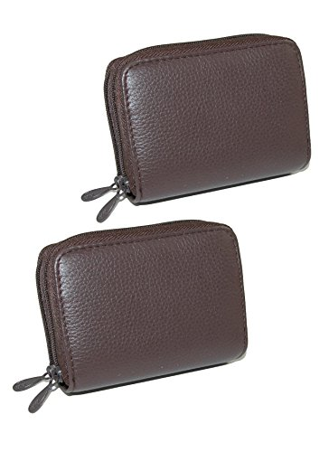 Buxton Women's Leather Mini Accordion Wizard Wallet (Pack of 2), Brown