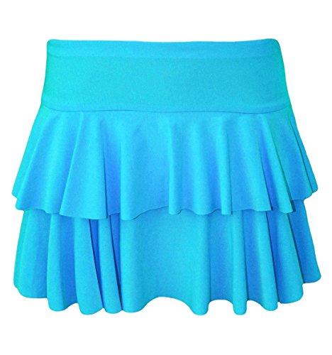 Islander Fashions Womens 2 couches volants RaRa jupe Ladies Party Dance Wear Mini Dguisement jupe S/XL Turquoise