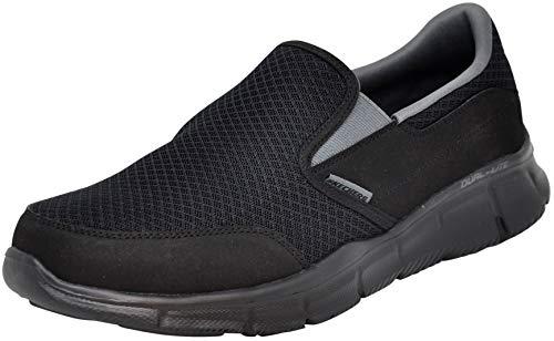 Skechers Men's Equalizer Persistent Slip-On Sneaker, Black/Charcoal, 8.5 M US