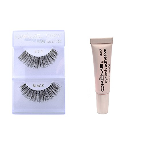(12 Pairs Crème 100% Human Hair Natural False Eyelash Extensions Black #510 Natural Long)