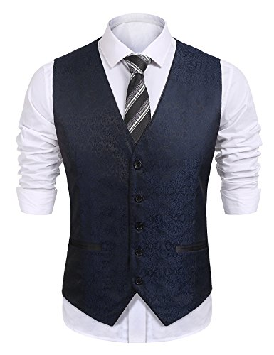 COOFANDY Mens Dress Tuxedo Vest Paisley Embroidery Wedding Formal Waistcoat Blue XX-Large