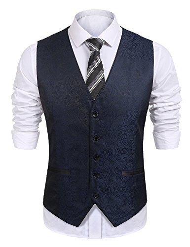 COOFANDY Mens Paisley Embroidery Dress Tuxedo Vest Wedding Formal Waistcoat,Blue,Large