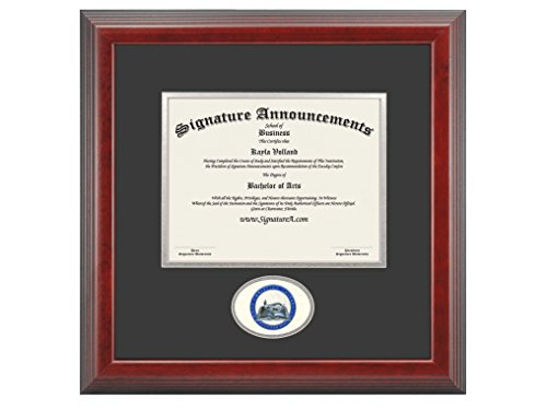 Signature Announcements Ohio-Christian-University Undergraduate, Graduate/Professional/Doctor Sculpted Foil Seal Diploma Frame, 16'' x 16'', Cherry by Signature Announcements