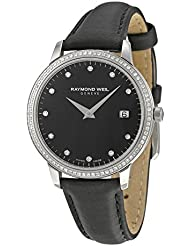 Raymond Weil Toccata Black Dial Diamond Black Leather Ladies Watch 5388-SLS-20081