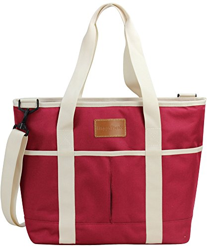 Willow Tote - HappyPicnic 16L Large Insulated Bag | 25CAN Waterproof Cooler Carrier Bag| Thermal Picnic Tote | Lunch Bags Outdoor Camping,Beach Day Travel | Collapsible Grocery Shopping Storage Bag-Burgundy