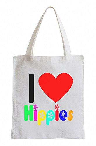 Amo hippies colorato Fun sacchetto di iuta