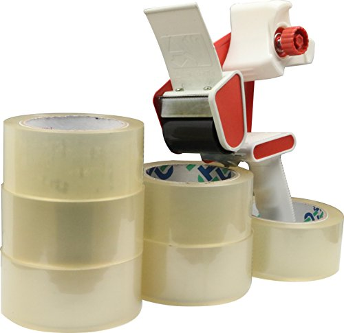 Packing Tape Dispenser with 6 Rolls of Thick (2.6 Mil) Commercial Grade Packing Tape Photo #2