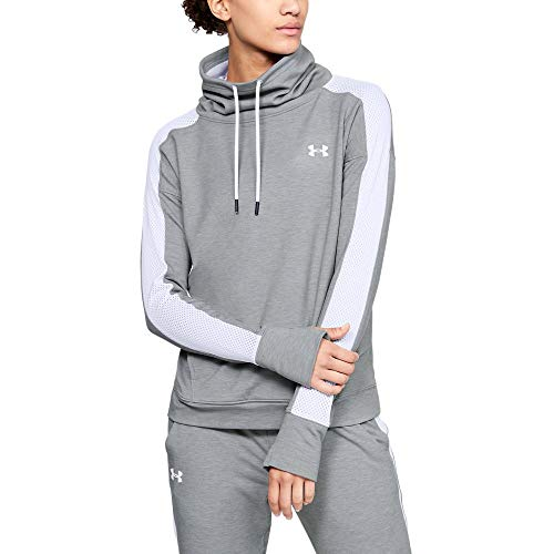 Steel Womens Sweatshirt - Under Armour Women's Featherweight Fleece Funnel Neck, Steel Medium Heather (036)/White, Large