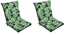 Set 2 Patio Chair Seat Pad Replacement Cushion Reversible Floral for Outdoor Furniture Garden Yard Porch Deck Tropical Decor