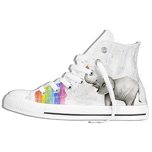 Classiche Sneakers Alte Scarpe Di Tela Anti-skid Elefanti Spray Arcobaleno Casual Da Passeggio Per Uomo Donna Bianco