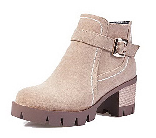 Allhqfashion Women's Kitten-Heels Frosted Low-Top Solid Zipper Boots Beige