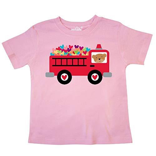 inktastic - Valentine Fire Truck Heart Bear Toddler T-Shirt 3T Pink -