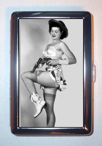 Western Cowgirl 1950s Pin Up in Lingerie SEXY ID Wallet or Cigarette Case USA Made]()