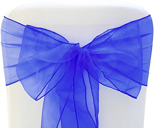 - Sarvam Fashion Set of 10 Chair Bows Sashes Tie Back Decorative Item Cover ups for Wedding Reception Events Banquets Chairs Decoration (Royal Blue)