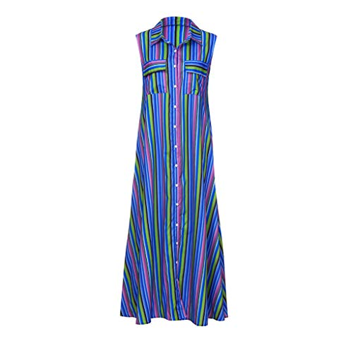 - Sanyyanlsy Women's Plus Size Rainbow Color Striped Button Turn-Down Neck Sleeveless Pocket Floor-Length Dress Beach