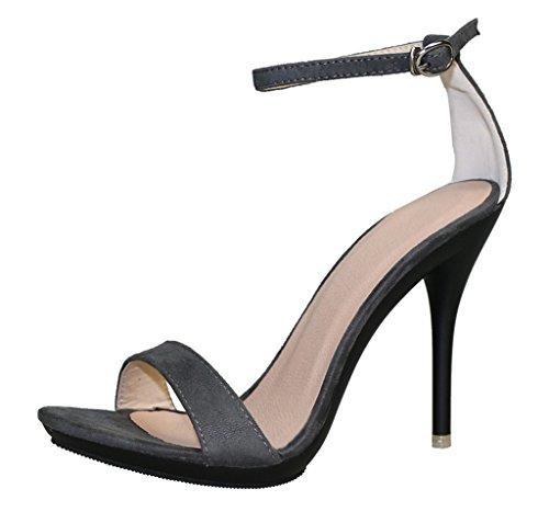 CAMSSOO Womens Sexy Open Toe Ankle Strap High Heel Dress Wedding Party Summer Stiletto Sandal dark grey velveteen wWHOb