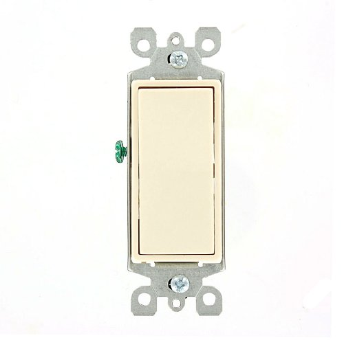 Leviton 5603-2T 15 Amp, 120/277 Volt, Decora Rocker 3-Way AC Quiet Switch, Residential Grade, Grounding, Light Almond 3 Way Switch Two Lights